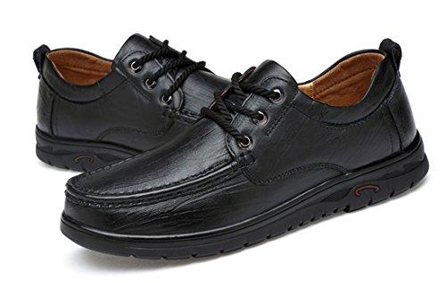 Tda Mens Gummisula Läder Mode Andas Loafers Driver Spets-up Tillfälliga Affärer Skor Svart
