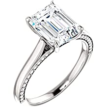 Diamond Accented Emerald Cut Engagement Ring 1 1/10ct. TDW