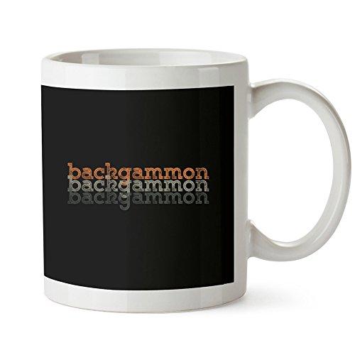 Idakoos Backgammon Repeat Retro Black White Ceramic Mug 11 Ounce ()