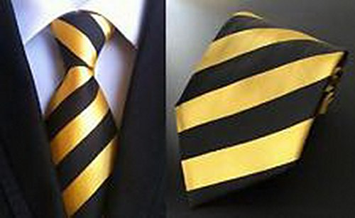 [Jacob AleX #47179 Costume Striped Black Yellow JACQUARD WOVEN Necktie] (Optimus Prime Costume 2016)
