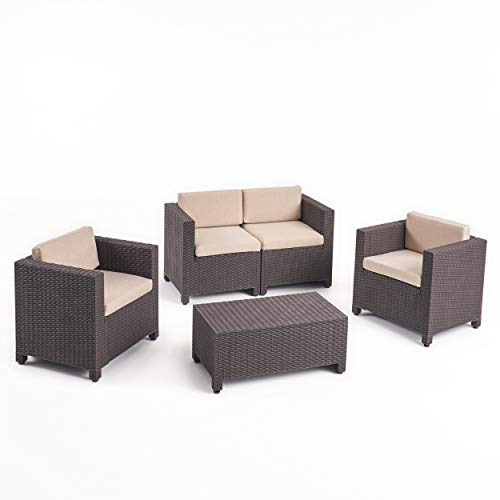 (Christopher Knight Home 309023 Waverly All Weather Faux Wicker 4 Seater Chat Set with Cushions, Brown, Beige )