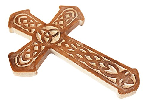 The StoreKing Father's Day Gifts Wooden Wall Hanging French Cross 12'' with Celtic Hand Carvings Religious Cross Home Living Room Decor (Design6) by The StoreKing (Image #2)