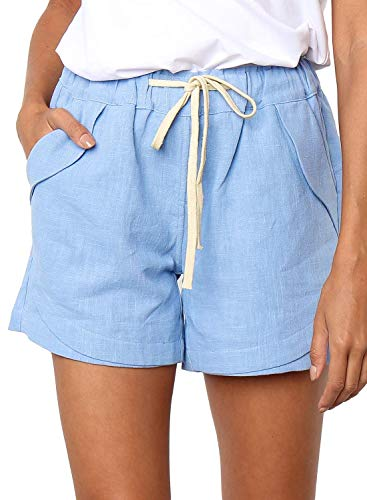 - BLENCOT Women's Ladies Drawstring Elastic Waist Casual Solid Comfy Cotton Linen Beach Shorts Blue M