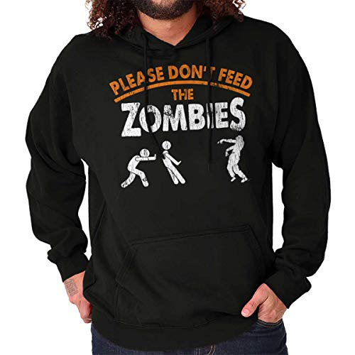 Classic Teaze Please Dont Feed Zombies Halloween Undead Hoodie Black]()