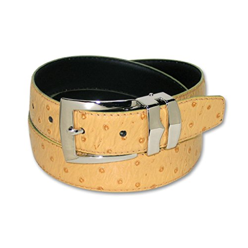 OSTRICH Pattern CAMEL YELLOW Bonded Leather Men's Belt Silver-Tone Buckle 38