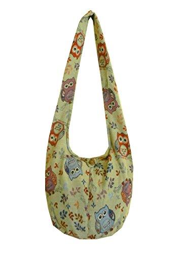 BTP! Owl Hippie Hobo Sling Crossbody Bag Messenger Purse Thai Cotton Large (Sand OL4)