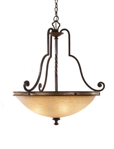 - Kalco 6107TP-2/G3423 Up Pendants with Antique Linen Glass Shades, Brass Accented Bronze Finish