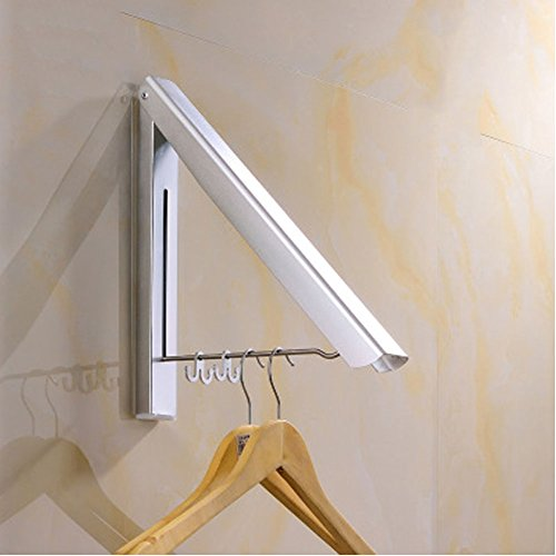 SRHOME Indoor/Outdoor Wall Mounted Folding Clothes Drying Rack- Clothes Hanger -Aluminum Folding Clothes Hanger Hanging on Bathroom,Bedroom Balcony and Laundry,Home Storage Organizer (1 Pack)