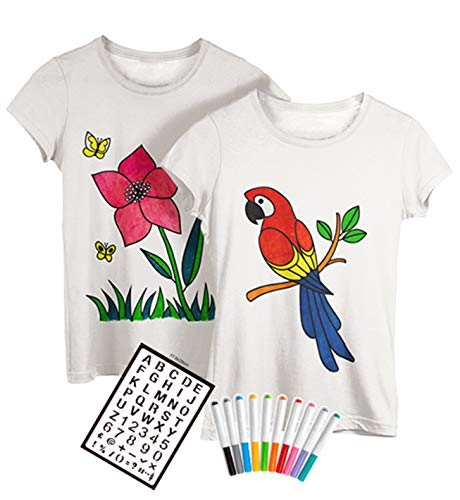 Two Coloring Shirts for Girls  Fabric Markers  Design Options: Unicorn | Birthday | Mermaid | Best Friends Youth XLarge Flower/Parrot