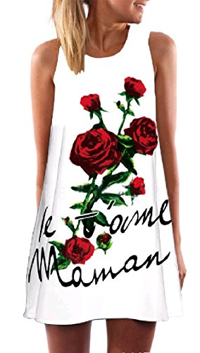 Digital Pattern5 A Sun Dress Stylish Coolred Short Weekend Crewneck line Women Print Sleeveless Twx5Uqg