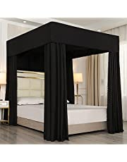 Mengersi Black Four Corner Post Canopy Bed Curtains Sheer Cover Canopy Bedroom Decoration Lightproof (Full, Black)