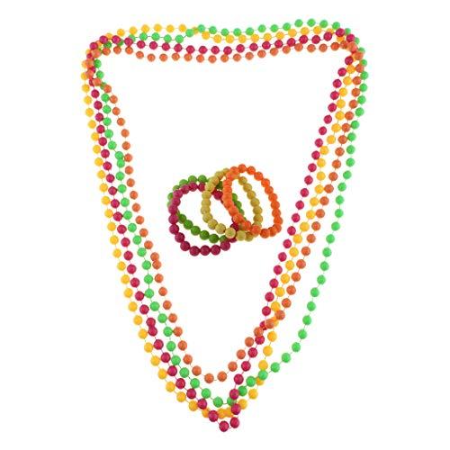 SM SunniMix Novelty 60s 70s 80s Theme Party Neon Plastic Beads Necklace Bracelet Halloween Masquerade Adult Fancy Dress