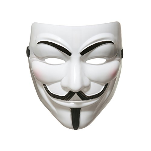 AKORD 990222 V for Vendetta Anonymous Guy Fawkes Halloween Masquerade Mask, Unisex-Adult, White, One Size