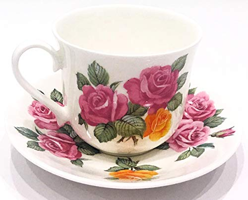 Roy Kirkham, England, Fine Bone China June Roses Breakfast Tea Cup and Saucer - China Bone Breakfast Set