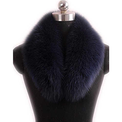GEGEFUR Real Genuine Fox Fur Winter Collar Scarves Scarf Wrap Neck Warmer (lining length 70cm,hair width 16cm, dark blue)
