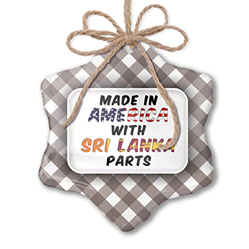 NEONBLOND Christmas Ornament Made in America with Parts from Sri Lanka Grey White Black Plaid