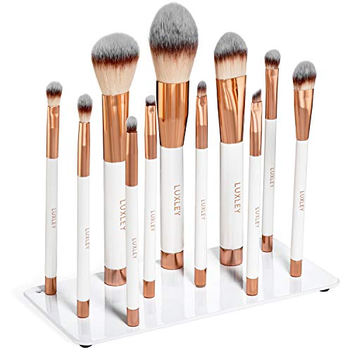 - Professional magnetic white & Pink rose gold full makeup brush set. Luxley Beauty brushes are synthetic eco vegan friendly & cruelty free The pearl plate is a pro holder & organizer for a cleaner look