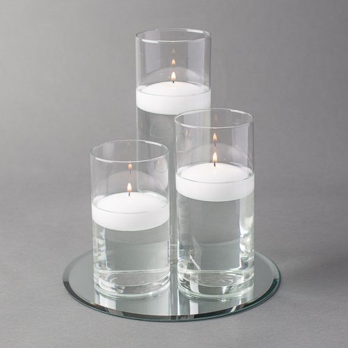 "Eastland Round Mirror and Cylinder Vases Centerpiece with Richland Floating Candles 3"". 48 Piece Set (10"" Mirror, White)"
