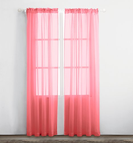 2 Piece Set Bedroom Set (KEQIAOSUOCAI 2 Pieces Solid Color Rod Pocket Sheer Curtains Panels For Bedroom Living room(Orange Red,52Wx63L,Set of 2))