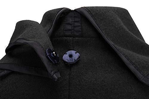 cuello L cálido manga Black de de tamaño Abrigo cazadora invierno dobladillo de Invierno lana de ZFFde Color larga de irregular de R6aZx