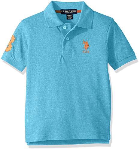 - U.S. Polo Assn. Boys' Little Short Sleeve Marled Pique Polo Shirt, Painters Aqua 5/6
