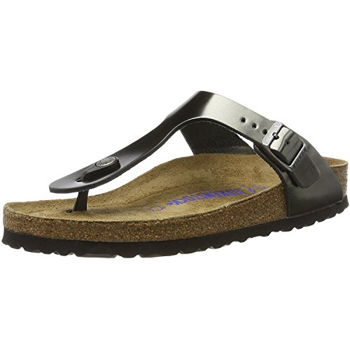 (Birkenstock Women's Gizeh SFB Leather Buckle Sandal Metallic Anthracite-Anthracite-4.5)