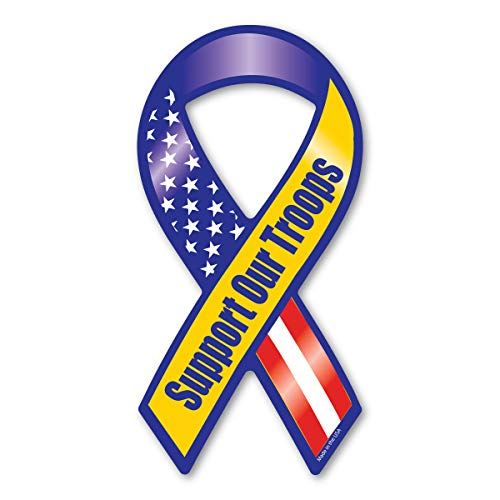 Blue/Yellow Support Our Troops Mini Ribbon Magnets