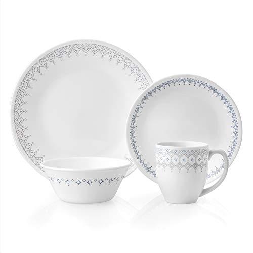 Corelle Evening Lattice Chip & Break Resistant 16pc Dinner Set, Service for 4, Vitrelle glass