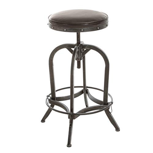 Dempsey Rustic Industrial Distressed Metal Swivel Adjustable Bar Stool Brown Bonded Leather