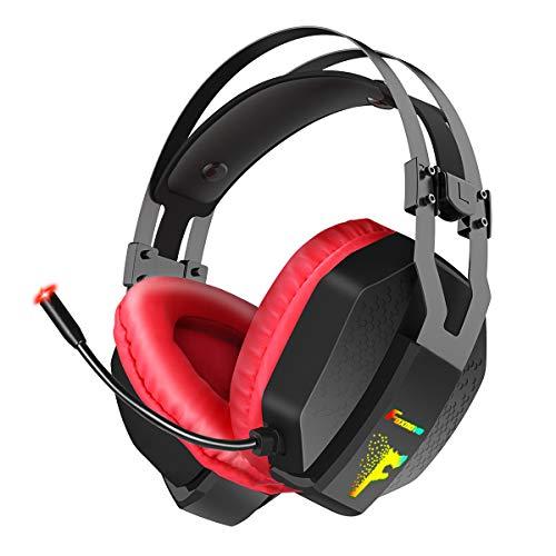 Gaming Headset para PS4, Xbox One, PC, Nintendo Switch, Foxnovo Over Ear Headphones Cancelación de ruido con micrófono, Led RGB, Bass Surround Sound, Control de volumen, Soft Padding Memory Earmuffs
