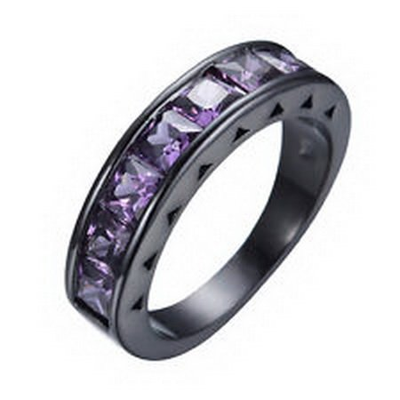 jacob alex ring New Ring Size 8 Princess Cut Purple Women's 10Kt Black Gold Filled Engagement by jacob alex