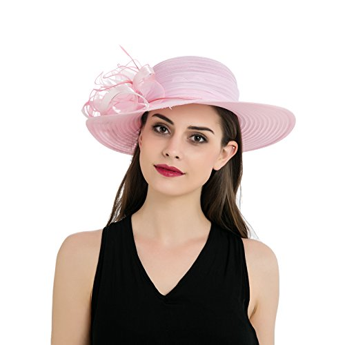 Dantiya Womens Organza Wide Brim Floral Feather Ribbon Kentucky Derby Church Dress Sun Hat, Pink Free