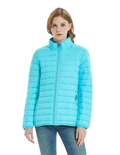 SUNDAY ROSE Packable Puffer Jacket Women Slim Fit Lightweight Quilted Jacket Color Light Blue - Size L