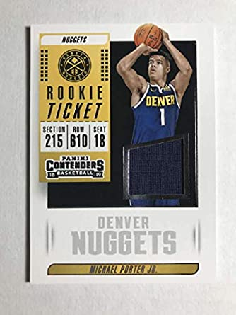 1cb6eb24a 2018-19 Panini Contenders Rookie Ticket Swatch  6 Michael Porter Jr. RC  Jersey
