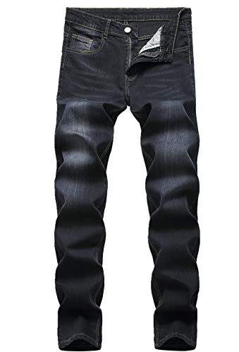 Men's Fashion Black Mid Waist Straight-Leg Comfy Fit Stretch Denim Jeans Pants 531