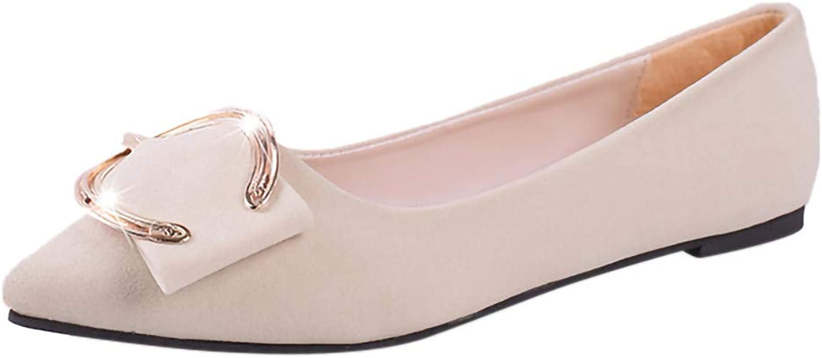 5788ff6f57889 Hurrybuy Women's Loafer Shoes Soft Pointed Toe Flat Slip-on Shallow Shoes  Beige