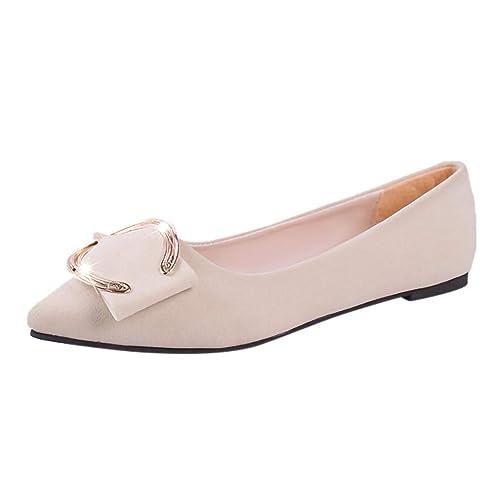 Mocasines con Punta Estrecha De Metal BotóN De TacóN Plano para Mujer Mocasines Casuales Zapatos Solos: Amazon.es: Zapatos y complementos