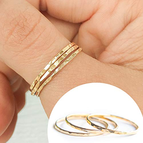 (3 Gold Stackable Rings for Women, Dainty Little Hammered Bands, Size 7 Set of 3)