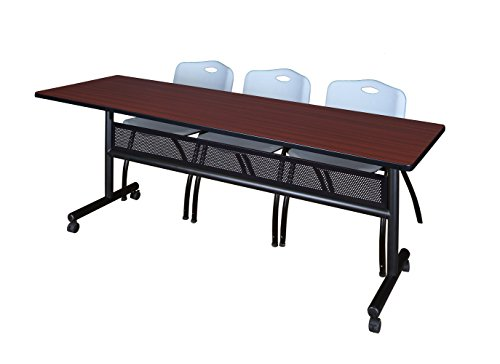 (Regency MKFTM8424MH47GY Flip Top Mobile Training Table with Modesty and M Chair Set, 84 x 24 inch, Mahogany/Grey)