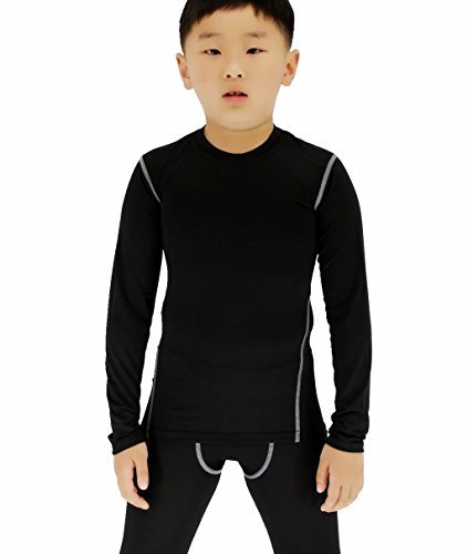 Sanke Boy's Long Sleeve Baselayer Quick Dry Compression Trianing T-Shirt