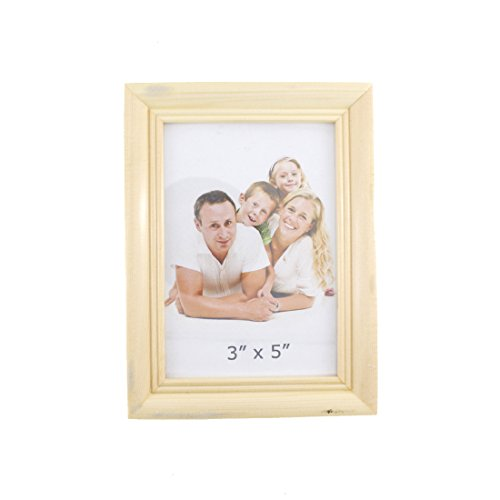 Simple Rectangular Wood Desktop Family Picture Photo Frame (Wood Color, 3X5 Style 2)