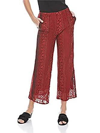 Iconic Palazzo Trousers for Women - Maroon