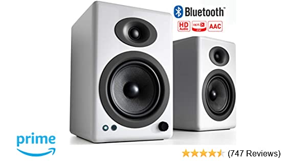 Audioengine A5+ 150W Wireless Powered Bookshelf Speakers, Bluetooth aptX HD  24 Bit DAC, Built-in Analog Amplifier & Remote Control (White)
