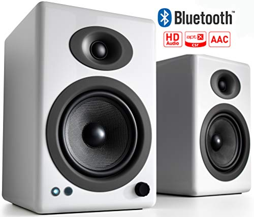 Audioengine A5+ 150W Wireless Powered Bookshelf Speakers, Bluetooth aptX HD 24 Bit DAC, Built-in Analog Amplifier & Remote Control (White)