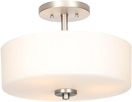 Hampton Bay 14 in 3-Light Brushed Nickel Flushmount with Crystal Accents
