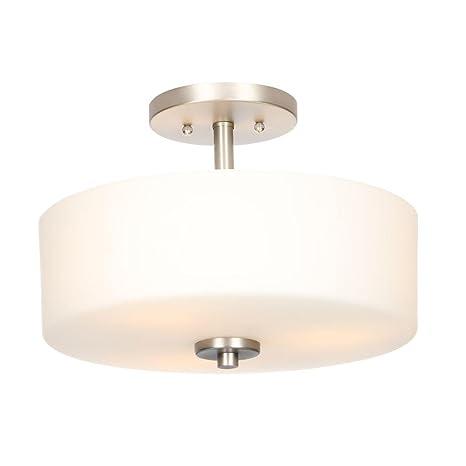 3 light brushed nickel semi flush mount light with white shade 3 light brushed nickel semi flush mount light with white shade aloadofball Images