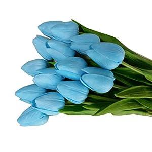 Vibola® Tulip Artificial Flower Latex Real Touch Bridal Wedding Bouquet Home Decor,10pcs (without bottle) Party Decor (blue) 54