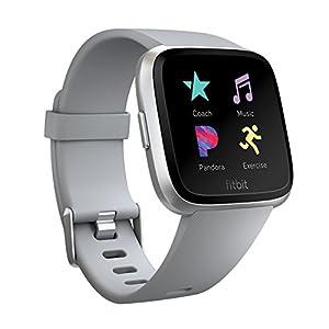 Fitbit フィットビット スマートウォッチ Versa iOS/android対応 バッテリーライフ4日以上 睡眠ステージ記録 歩数&距離&カロリー記録 耐水50m性能  着信/SMS/アプリ(LINE/Twitter/Facebook)通知 24時間心拍測定 エクササイズモード 女性の体調管理 Gray/Silver Aluminium L/Sサイズ【日本正規品】 FB505SRGY-CJK