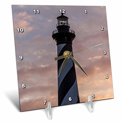 North Carolina Desk Clock - 3D Rose North Carolina Buxton-Cape Hatteras Lighthouse Desk Clock, 6