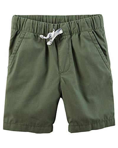 (Carter's Baby Boys' Easy Pull-On Poplin Shorts, Olive, 18 Months)